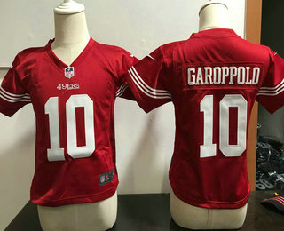 419b82a88 Toddler San Francisco 49ers  10 Jimmy Garoppolo Scarlet Red Team Color  Stitched NFL Nike Game Jersey