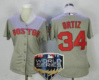 official photos b6b98 99e7d Women's Boston Red Sox #34 David Ortiz Gray Road 2018 World ...