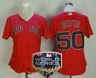 Women s Boston Red Sox  50 Mookie Betts Red 2018 World Series Patch  Stitched MLB Cool 54b173a61