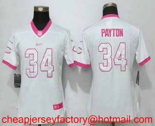 the best attitude a10bc bf052 Women's Chicago Bears #34 Walter Payton White Pink 2016 ...