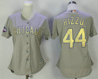 4689685b5 Women s Chicago Cubs  44 Anthony Rizzo Gray World Series Champions Gold  Stitched MLB 2017 Cool Base Jersey