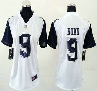 promo code 2bfa0 391f9 Women's Dallas Cowboys #9 Tony Romo Nike White Color Rush ...
