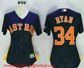 45ec5e70d Women s Houston Astros  34 Nolan Ryan Retired Navy Blue Stitched MLB Cool  Base Jersey