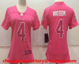 Hot Women's Houston Texans #4 Deshaun Watson Pink Fashion 2017 Rush NFL