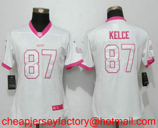 best cheap 46dcc c0243 Women's Kansas City Chiefs #87 Travis Kelce White Pink 2016 ...