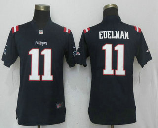 brand new f5837 c962f Women's New England Patriots #11 Julian Edelman Navy Blue ...
