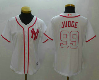 d7bb2c8f2a8 Women s New York Yankees  99 Aaron Judge White Fashion Stitched MLB Cool  Base Jersey