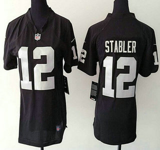 new arrival 331dc 8c491 womens oakland raiders 12 kenny stabler black retired player ...