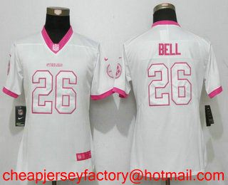 best cheap 01a11 31f3e Women's Pittsburgh Steelers #26 Le'Veon Bell White Pink 2016 ...