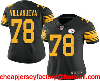ddbaed5ccdb Women s Pittsburgh Steelers  78 Alejandro Villanueva Black 2016 Color Rush  Stitched NFL Nike Limited Jersey