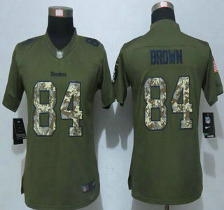 0809db53b78 Women s Pittsburgh Steelers  84 Antonio Brown Green Salute to Service 2015 NFL  Nike Limited Jersey