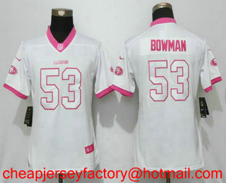 ad63ebf2682 womens nike san francisco 49ers 53 navorro bowman red team color stitched  nfl vapor untouchable limited jersey