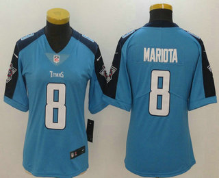 womens tennessee titans 8 marcus mariota light blue 2017 vapor untouchable stitched nfl nike limited jersey
