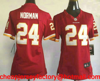 73017ed6a65 Women s Washington Redskins  24 Josh Norman Burgundy Red Team Color  Stitched NFL Nike Game Jersey