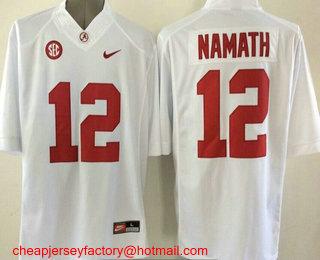 best service 3d585 4163f Youth Alabama Crimson Tide #12 Joe Namath White Stitched ...