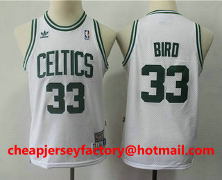 e6247da55f1 Youth Boston Celtics #33 Larry Bird White Hardwood Classics Soul Swingman  Throwback Jersey