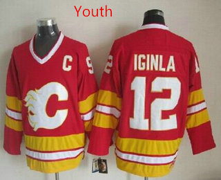 Youth Calgary Flames 12 Jarome Iginla 1989 Red CCM Vintage Throwback Jersey Flames  12 Jarome Iginla Stitched Red NHL ... 1111a79b4