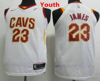 new style 11490 eb926 Youth Cleveland Cavaliers #23 LeBron James White 2017-2018 ...
