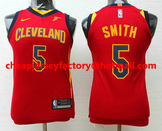 buy popular 2e6c1 c1ea3 Youth Cleveland Cavaliers #5 J.R. Smith Burgundy Red 2017 ...