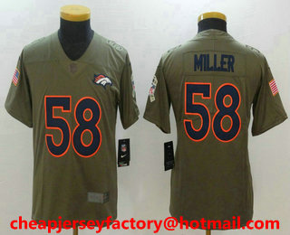 ad71e5c24e8 Youth Denver Broncos  58 Von Miller Olive 2017 Salute To Service Stitched  NFL Nike Limited