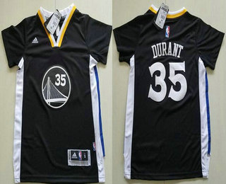 f9e29f838 Youth Golden State Warriors  35 Kevin Durant Black Short-Sleeved Stitched  NBA Swingman Jersey
