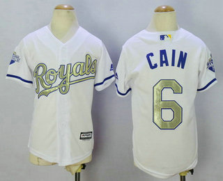 the best attitude 6b937 2df66 Youth Kansas City Royals #6 Lorenzo Cain White World Series ...