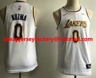 best service cd88b d2d59 Youth Los Angeles Lakers #0 Kyle Kuzma White 2018-2019 Nike ...