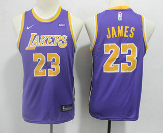 superior quality 59a6f d5627 Youth Los Angeles Lakers #23 LeBron James Purple 2018-2019 ...