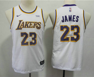 0efd19c0cef Youth Los Angeles Lakers  23 LeBron James White 2018-2019 Nike Wish Swingman  Stitched NBA Jersey