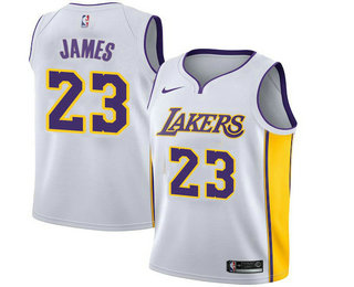 0d36c08910c Youth Los Angeles Lakers  23 LeBron James White 2018 Nike Swingman Stitched  NBA Jersey