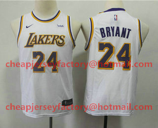 competitive price b8fd4 a0d82 Youth Los Angeles Lakers #24 Kobe Bryant White 2018-2019 ...