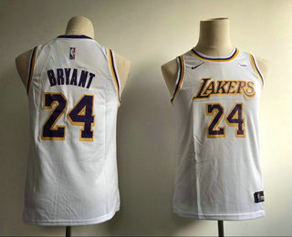 effb85fee56 Youth Los Angeles Lakers  24 Kobe Bryant White 2019 Nike Wish Swingman  Stitched NBA Jersey