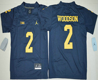 aaa908500a36 Youth Michigan Wolverines  2 Charles Woodson Navy Blue Stitched NCAA Brand  Jordan College Football Jersey