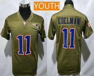 pretty nice f0fe3 07718 Youth New England Patriots #11 Julian Edelman Olive 2017 ...
