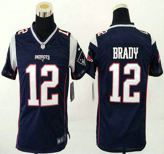 3729c9ec ... Jersey Youth New England Patriots 12 Tom Brady Navy Blue Team Color  2015 NFL Nike Game ...
