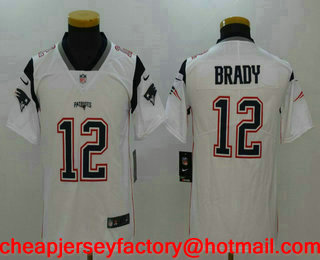 d4315cc9d Youth New England Patriots  12 Tom Brady White 2017 Vapor Untouchable  Stitched NFL Nike Limited