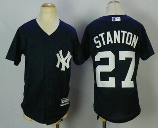 88e26cc14 Youth New York Yankees  27 Giancarlo Stanton Navy Blue Stitched MLB Cool  Base Jersey