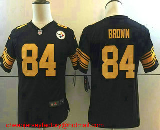 80e6ce956 Youth Pittsburgh Steelers  84 Antonio Brown Black With Yellow 2016 Color  Rush Stitched NFL Nike Limited Jersey
