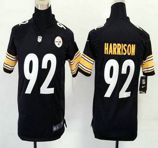 8e84294c0 Youth Pittsburgh Steelers  92 James Harrison Black Team Color NFL Nike Game  Jersey