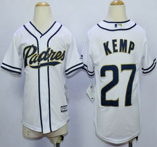 info for 7d458 b885a Youth San Diego Padres #27 Matt Kemp White Home Cool Base Jersey