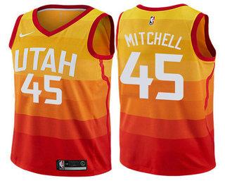 Youth Utah Jazz  45 Donovan Mitchell Yellow Nike 2017-2018 NBA Swingman  City Edition 1b636d404